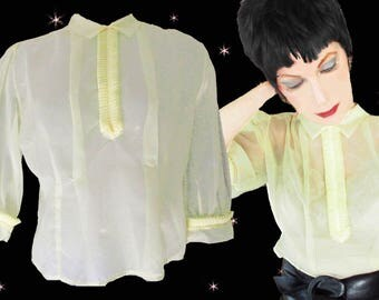 Sexy Sheer 50s Nylon Blouse with Tuxedo Ruffles, Sheer Yellow Blouse, Tapered Waist, See Through Nylon, 50s Fashion Blouse with Half Sleeves