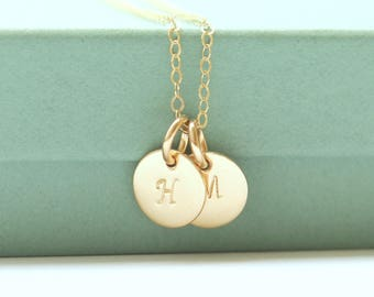 Gold Initial Necklace - Personalized Monogram Necklace - Tiny Initial Necklace - Personalized Gift For Her - Personalized Mothers Necklace -