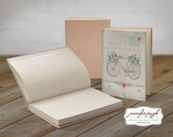 French Bike 5x7 Hardback Bound Journal -Inspirational, Word Art