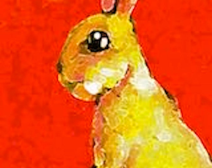 Sunny Bunny-Art Card Print-ACEO-Whimsical Animal Art-Free Shipping in USA