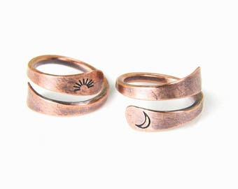 Sun & Moon Copper Rings, SET-OF-TWO, Metal Stamped Copper Wire Rings, Copper Wire Rings, 1-Sun and 1-Moon, Made To Order