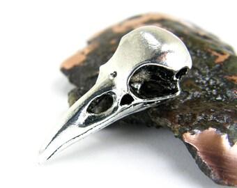 Raven Crow Bird Skull Skeleton Pendant, Raven Skull Pendant, Goth Pendant, (1) Silver P0016