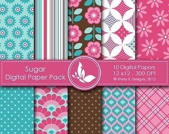 40% off Sugar Paper Pack - 10 printable Digital Scrapbooking papers - 12 x12 - 300 DPI