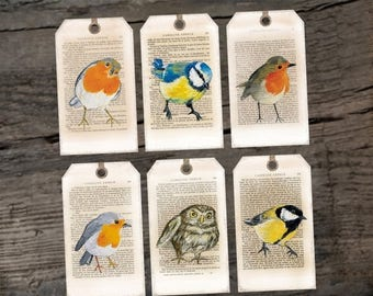 Printable New Year Hang/Gift tags Bird portrait collection -3 differents set Holiday tags Printable digital download