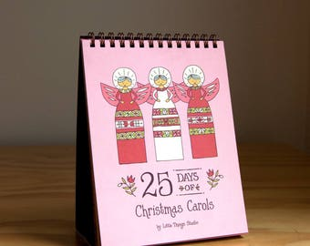 25 Days of Christmas Carols Advent Calendar, christmas calendar, grandmother gift, christmas countdown, perpetual calendar, silent night