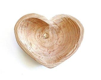 Heart Shaped Bowl . Wooden Heart Bowl . heart dish . wood bowl . rustic wedding centerpiece . wooden bowl