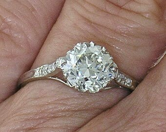 Vintage DIAMOND ENGAGEMENT RING~Vintage 1.32ct European cut Diamond Ring, Circa 1910