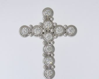 TIFFANY & Co. DIAMOND CROSS~18k White Gold Paloma Picasso Diamond Cross, Box, Papers