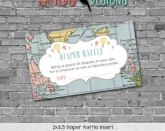 Diaper raffle INSTANT DOWNLOAD item 1455 insert enclosure card adventure awaits world map hot air balloons diaper and wipes raffle card