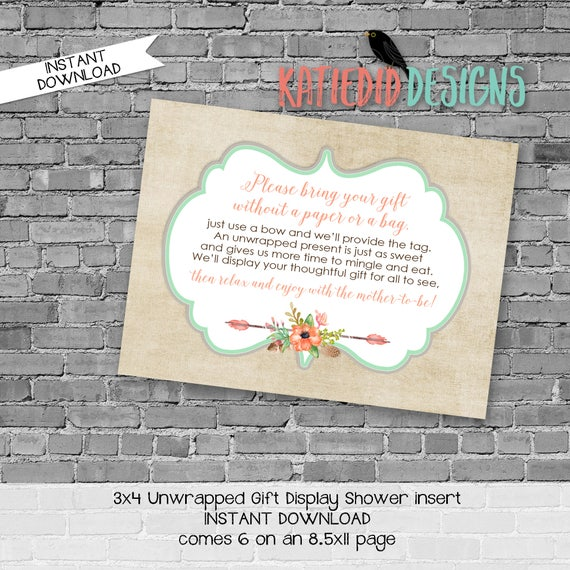 display shower insert | unwrapped gift enclosure card | rustic shower invitations gender neutral | mint coral invite | 1445 Katiedid Designs