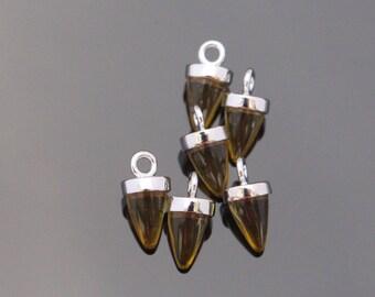 Jewelry Supplies, Pointed Bail Setting Brown Charm with loop, teardrop glass gemstone charm, 2 pc,KA915055