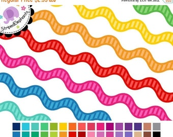 40% OFF SALE Digital Clip Art - Striped Ric Rac Digital Ribbons - Instant Download - Commercial Use