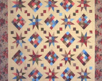 """Cozy Strip Club - Rising Star #SRRRS1, Quilt Pattern, Cozy Quilt Designs, Pattern for 2 1/2"""" Strips."""