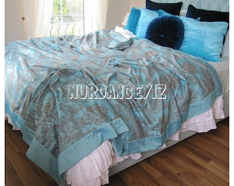 Teal blue DAMASK print Full Queen KING duvet cover with border - Custom bordered Bedding romantic bedroom by Nurdanceyiz Turkey Turkish