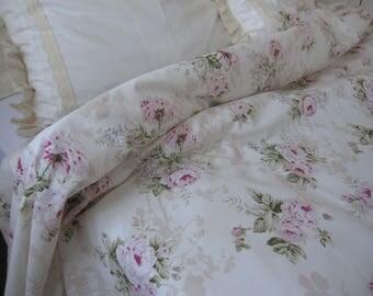 Shabby chic bedding Vintage Floral Duvet cover pastel cream pink roses oversized Queen-Super King 120x98 duvet cover Turkish Nurdanceyiz