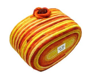 Coiled Rope Bow, Bathroom Catch All Basket, Clothesline Organizer, Bright Orange Yellow, Handmade Quilted Fiber Art, Functional Home Decor