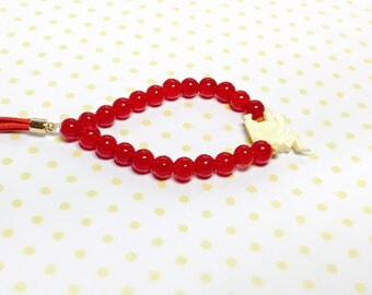 Red Beads Bracelet, boho elephant charm, tassel, stretchy, Hand Made in The USA, Item No. L062