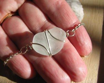 Off White Sea Glass Bracelet Real Seaglass Beach Glass Jewelry Wire Wrapped Bracelet Natural Sea Glass Simple Bracelet Beach Wedding