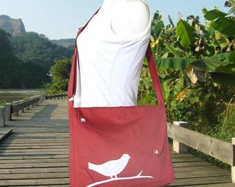On Sale 20% off Red cotton canvas  shoulder bag, bird messenger, messenger bag, diaper bag, crossbody bag
