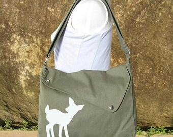 On Sale 20% off Olive green cotton canvas messenger bag / shoulder bag / deer messenger /diaper bag / fawn sewn