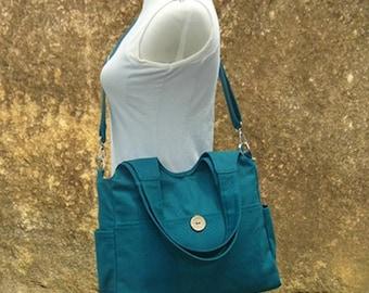Big Sale - 20% off Teal green canvas shoulder bag, womens hand bag, canvas messenger bag, tote bag for women