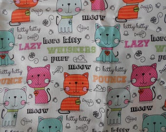 Meow Purr Pretty Kitty Cotton Fabric - Pink Polka Dot Cats - Orange Striped Cats - Blue Checked Cats - Kitchy Cotton Fabric - Ready to Ship