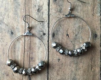 Silver and crystal beaded dangle earrings