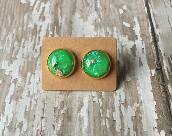 Bright green gold flake opal studs