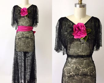 1930s Black lace Evening Gown