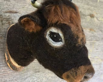 needlefelted cow mount by felt factory, faux taxidermy