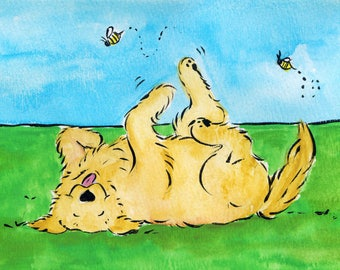 Whimsical Golden Retriever Roll with it   print  5x7
