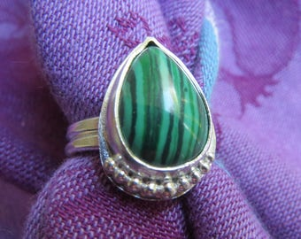 Striped Malachite Teardrop in Granulated Argentium Sterling Ring Size 7