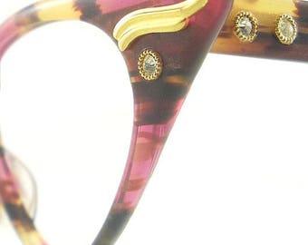 Vintage Cat Eye Glasses Eyeglasses Sunglasses New Frame Eyewear Marbled Pink