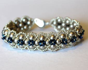 New York Bracelet,Platinum Swarovski Pearls and Metallic Blue Crystals, Original Design, jewelry,Gift for Her, Amy Johnson Designs BV2128