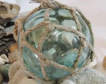 Vintage Japanese GLASS FISHING FLOAT Original Net, Kanji Makers Mark, Moss Green (# 20)