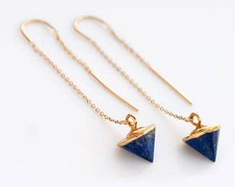 Lapis Lazuli Earrings, 14k Gold Filled Threader Earrings, Spike Earrings, Minimalist Jewelry, Long Gold Dangle Earring, Gold Chain Earrings