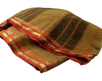 Vintage Sari Saree Sheer Organza Stripe Fabric Yardage
