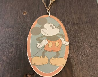 Reclaimed Mickey Mouse Tin Necklace