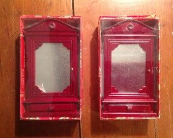 Miniature dollhouse mirrored cabinet
