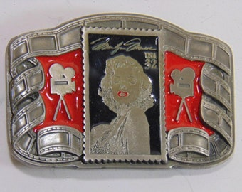 Vintage Collectible Ltd Edition Marilyn Monroe Pewter & Enamel Belt Buckle Rare