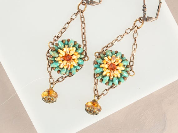 Southwestern Turquoise and Sunflower Earrings