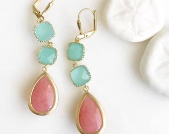 Coral and Aqua Dangle Earrings. Drop Earrings. Bridesmaids Earrings. Beach Wedding Earrings. Bridal Earrings. Bridesmaids Gift.