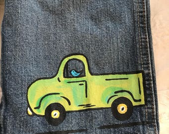 Truck baby jean overalls  size 12-18 months. One of a kind baby overalls with matching organic cotton tee