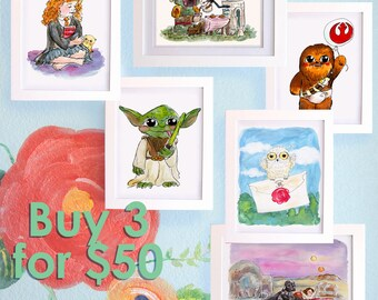 SAVE!! Geek Nursery Art Buy 3 8x10's for 50 Star Wars, Harry Potter, Avengers Baby Art Little Boys Room, Girls Room Prints LSC003