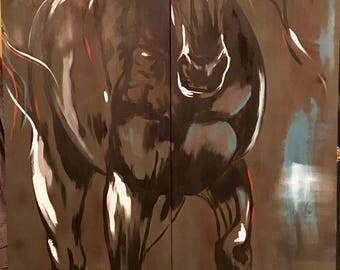 "Colorful Horse Painting on Door - ""Blackjack"""