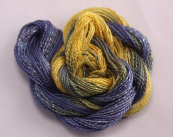 Navy Blue Yellow Cotton Perle Embroidery sewing thread hand dyed crochet weaving yarn size 8 5 metallic thread variegated crazy quilt thread