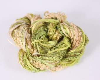 leaf green peach Silk embroidery Thread Silk ribbon Hand Dyed Variegated quilting thread weaving supply scrapbook embellishment hand dyed
