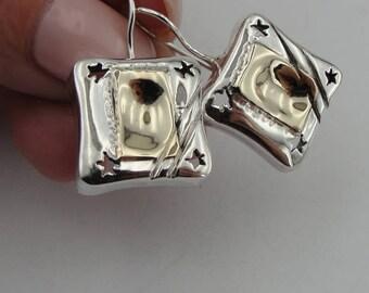 Israel design  yellow Gold 9k , 925 sterling Silver  Earrings , gift, christmas , Birthday  (216g
