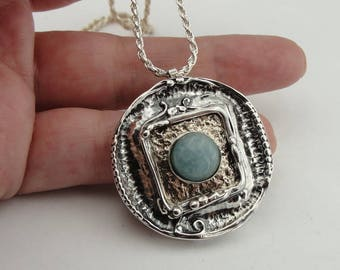 Hadar handcrafted Sterling Silver 925 ,jede Pendent  , chain ,Round pendant free shipping  (4119