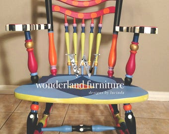 MacKenzie Child's-inspired Rocker Whimsical Rocker Whimsical Furniture Nursery Furniture
